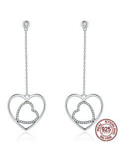 Hollow Double Hearts Pendant Earrings - Silver