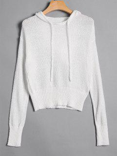 Pullover Drawstring Hooded Knitwear - White M