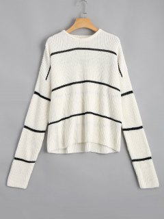 Loose Stripes Chunky Sweater - White