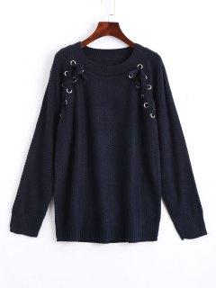 Casual Loose Sheer Lace Up Sweater - Purplish Blue