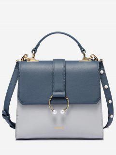Faux Pearls Metal Ring PU Leather Tote Bag - Steel Blue