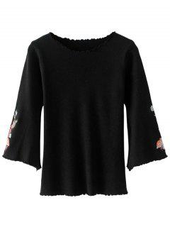 Ruffles Flare Sleeve Floral Embroidered Knitwear - Black