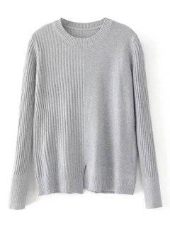 Loose Front Slit Crew Neck Sweater - Gray