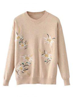 Crew Neck Floral Embroidery Sweater - Apricot