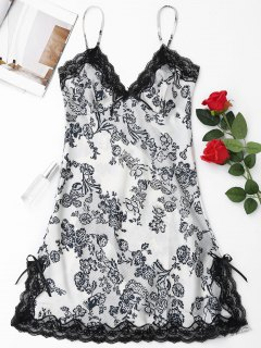 Laced Floral Satin Babydoll - White L