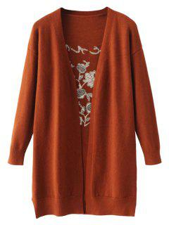 Long Open Front Embroidered Cardigan - Jacinth