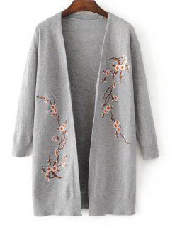 Long Open Front Floral Embroidered Cardigan - Gray