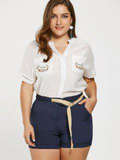 Embroidered Plus Size Shirt With Self Tie Shorts - Deep Blue 3xl