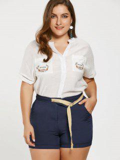 Camisa Bordada De Talla Grande Con Pantalones Cortos - Azul Profundo 5xl