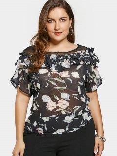 Mesh Ruffles Floral Plus Size Blouse - Black 5xl
