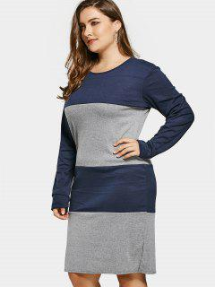 Two Tone Long Sleeve Plus Size Dress - Gray And Blue 4xl