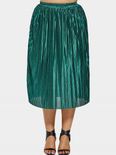 Pleated Plus Size Midi Skirt - Green Xl