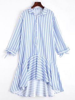 Ruffles Stripes Midi Asymmetrical Dress - Stripe L