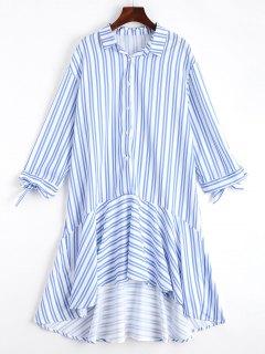 Midi Asymmetrisches Kleid Mit Rüschen Und Streifen  - Streifen  M
