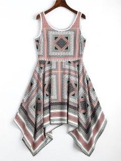 Sleeveless Geometric Asymmetrical Mini Dress - M