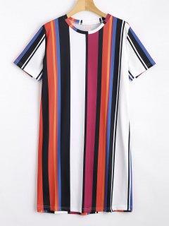 Short Sleeve Colorful Stripes Mini Dress - Stripe S