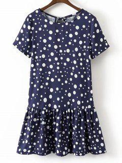 Robe Courte Volantée à Pois à Noeud Papillon - Bleu Violet M