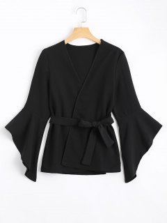 Belted Asymmetrical Flare Sleeve Balzer - Black L