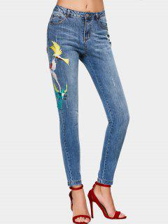 High Waisted Ripped Embroidered Jeans - Denim Blue L