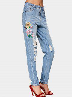 Destroyed Floral Embroidered Pencil Jeans - Denim Blue L