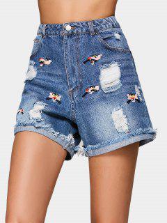 Embroidered Cutoffs Distressed Denim Shorts - Denim Blue M