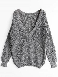 Loose Chunky V Neck Sweater - Gray