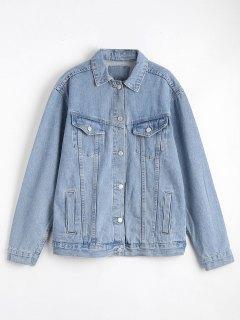 Button Up Denim Jacket With Pockets - Denim Blue M