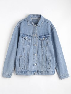 Button Up Denim Jacket With Pockets - Denim Blue S