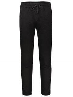Drawstring Straight Pants - Black 34