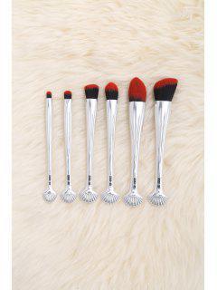 6Pcs Multipurpose Plating Shell Facial Makeup Brushes - Black Red