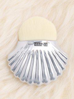 Plated Shell Design Fiber Hair Foundation Brush - Ivory White