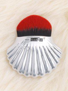 Plated Shell Design Fiber Hair Foundation Brush - Red With Black