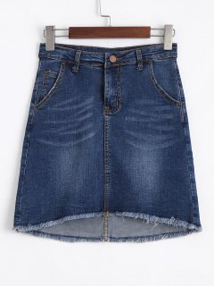 Fringed High Low Mini Denim Skirt - Denim Blue M