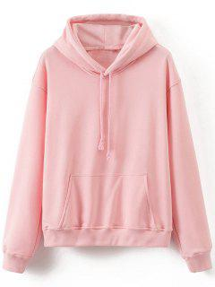 Front Pocket Drop Shoulder Long Hoodie - Pink S