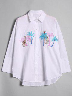 Chemise Brodée Girafe Et Arbre Palmier Lâche - Blanc L