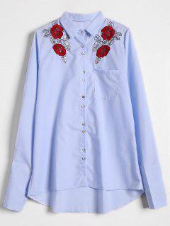 Camisa Floral Alta Bordada Floral De Los Cequis - Azul Claro L