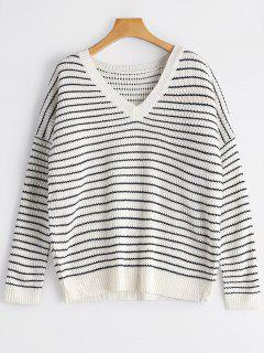 V Neck Drop Shoulder Striped Sweater - White