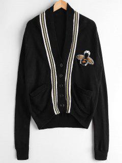Drop Shoulder Patchwork Pockets Cardigan - Black
