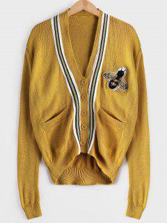 Drop Schulter Patchwork Taschen Strickjacke - Ingwer-gelb