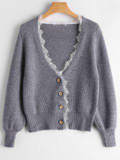 Lace Hem Lantern Sleeve Cardigan - Gray