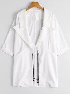 Lapel Open Front Trench Coat - White M