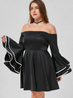 Plus Size Flare Sleeve Off The Shoulder Dress - Black 5xl