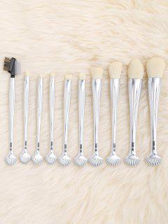 10Pcs Gradient Color Multifunction Ocean Shell Brushes Set - Silver White