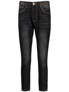 Mens Dark Wash Jeans - Black 34