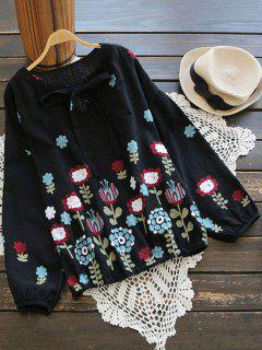 Drop Shoulder Floral Bow Tie Blouse - Black