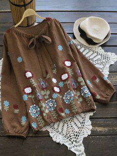 Drop Shoulder Floral Bow Tie Blouse - Brown