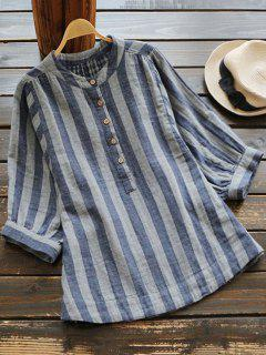 Three Quarter Sleeve Oversized Striped Blouse - Cadetblue