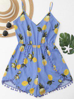 Pineapple Print Embellished Cami Romper - Blue Violet Xl