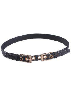 Double Pin Buckle Waist Belt - Black