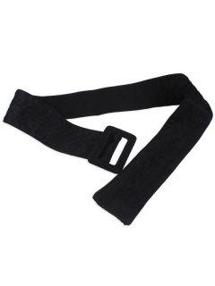 Faux Suede Rectangle Buckle Wide Waist Belt - Black